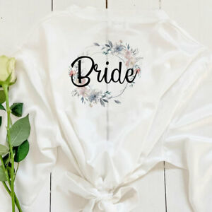 Personalised Bridal Robe Bride Party Wedding Bridesmaid Floral Dressing Gown