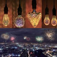 3D Fireworks E27 ST64 LED Retro Vintage Edison Glass Fairy Light Bulb Lamp Decor