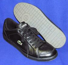 TERRIFIC 10.5  LACOSTE NISTOS BLACK LEATHER SNEAKERS MENS SHOES