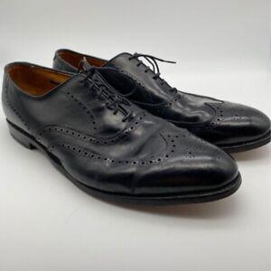 Allen Edmonds Mens Oxfords Black Wingtip Lace Up Almond Toe Dress Shoes 8