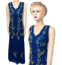 New Ladies BlueGold Sequin Beaded Vintage Evening Long Dress size Fit up to 24