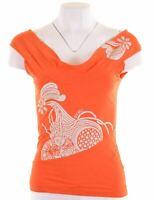 DIESEL Womens Off Shoulders Top Size 12 Medium Orange Cotton  LY31