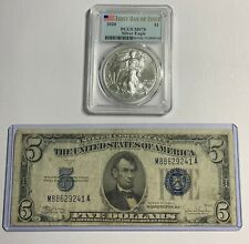2020 AMERICAN SILVER EAGLE PCGS-70 & RARE 1934-C $5. AG+ BLUE SEAL SIL/CERT PICS