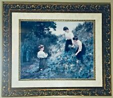 Beautiful Print Painting 3 Girls At Flower Garden On Stunning Wooden Gold frame