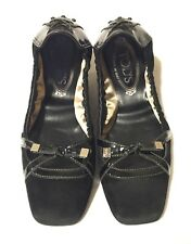 Tod's Ballerina Ballet Flats Square Toe Driving Bow Tie Women's Shoes Sz39 Italy