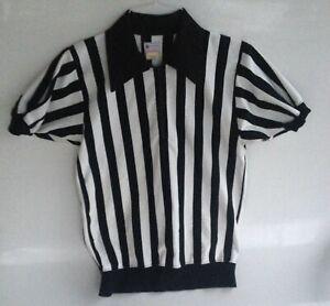 Vintage Felco NY Mens M 60s Football Referee Black White Striped Shirt Uniform