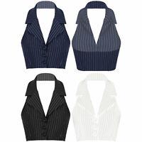 Women Formal Work Suit Vest Sleeveless Waistcoat Stripes Print Coat Suit Tops