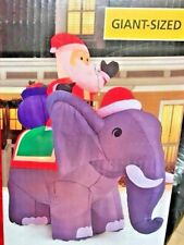 NEW GIANT 10.5 FT TALL CHRISTMAS SANTA CLAUS RIDING ELEPHANT INFLATABLE BY GEMMY
