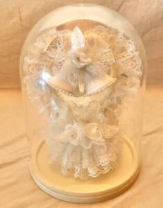 VINTAGE SPRINGER GLASS ON SILK ORNAMENTS WEDDING CAKE TOPPER
