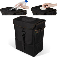 Car Trash Can with Lid Storage Pockets Garbage Bag Hanging Accessories Organizer