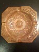 Vintage Copper Hammered/Engraved Floral Square Cigarette Joint Ashtray 5.5 x 5.5