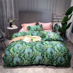 Green Tropical Leaves Set Egyptian Cotton Print Bedding Set Sheet Cover 4Pcs