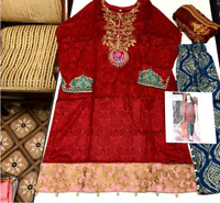 Maria b lawn Embroidered stitched suit salwar kameez for summer to clear £28