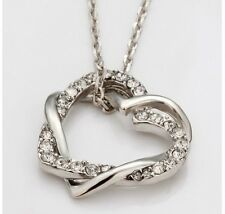 Women's Gold Double Heart CRYSTAL Fashion Trendy Necklace Jewellery White Colour