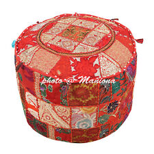 Ethnic Ottoman Red Footstool Pouffe Cover Embroidered Mirror Patchwork 18Inch