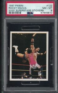 1997 Panini WWF ROCKY MAIVIA THE ROCK  DWAYNE JOHNSON Wrestling FLY Card PSA 8