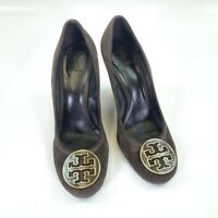 Tory Burch Womens Classic Pump Wedge Heel Shoes Brown Leather Slip Ons 10.5 M