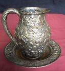 Vintage S Kirk and Son silver repousse pitcher and base
