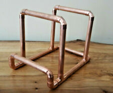 """Copper Pipe Vinyl 7"""" 12"""" LP Record Stand Industrial Holder, with Now Playing Lip"""