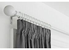 Simple Value Extendable Metal Curtain Pole Set White Wooden Pole Features Finish