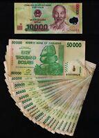 20 x 50,000 ZIMBABWE DOLLARS [1 MILLION] + 10,000 VIETNAM DONG POLYMER BANK NOTE
