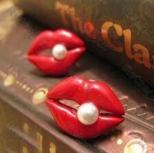 Retro 80s Caliente Labios Rojos con Pasador Pasador Aretes Esmalte Blanco Perla Lápiz Labial Kiss Glam