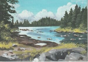"aceo original acrylic ""The Rivers Edge""  by J. Hutson"