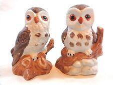 """BARN OWL FIGURINE 3"""" Set of 2 on Branch Log Brown Porcelain"""