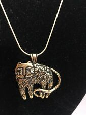 Laurel Burch Antiqued Gold Tone Cat Feine Necklace With Gold Tone Chain New