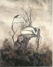 Amy Brown Print Note Card Fairy Enough Depression Over Whelmed Sad Faery