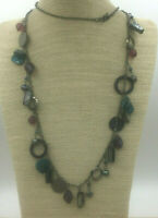 Vintage Style Necklace Mother of Pearl Black Teal Purple Gunmetal Pearl Flapper