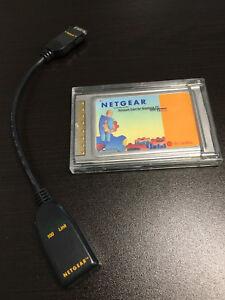 Genuine Original Netgear 10/100 Network FA510 PC Card With Cable in EUC