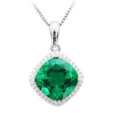 5ct 23mm Luxury Emerald Neckace Pendant Solid Sterling Silver Special Occassion