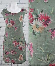 Damen florales Sommerkleid Kleid Blumen Taschen 100% Leinen grün Gr. S/M (38)