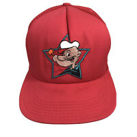 Vintage POPEYE Mesh Trucker Baseball Hat Cap Red Snapback - Made in USA
