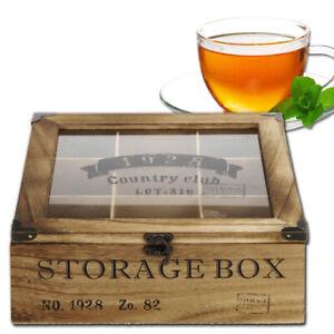 Teebox 9 Fächer Holz Tea Vintage Teekiste Teebeutel Kapsel Box Tee Aufbewahrung