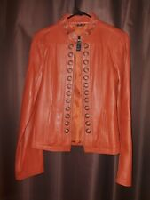 LADIES ORANGE LEATHER JACKET Size MEDIUM ORANGE W BRASS Genuine Leather NEW!!!!