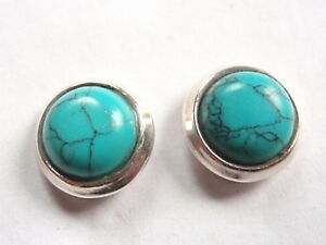 Round Turquoise 925 Sterling Silver Stud Earrings Corona Sun Jewelry