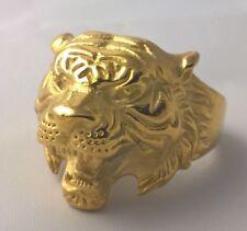 G-Filled 18ct yellow gold Tiger Men's ring jungle animal Bikie Biker US 12 AUS Y