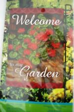 New listing Garden Flag Geraniums Welcome 12.5 in X 18 in Small Flag 100% Polyester