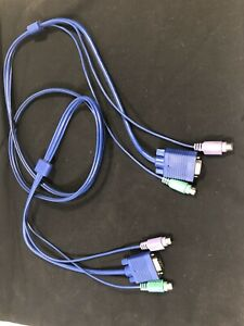 6 Ft 3-in-1 KVM Switch Cable w/ 6-pin PS2 Keyboard Mouse & HD15 VGA Male to Male