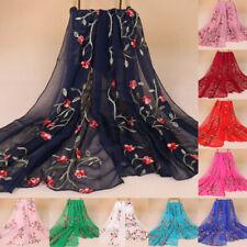 Women Chiffon Long Scarf Muslim Flower Embroidery Hijab Arab Wrap Shawl Headwear