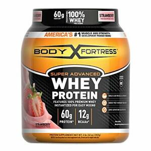 Super Advanced Whey Protein Powder Body Fortress  Gluten Free Strawberry 2 lb