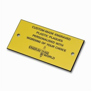 152mm x 76mm Personalised Engraving Engraved Plastic Plaque Sign (Yellow/Black)