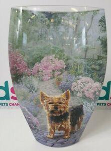 """RARE? Danbury Mint 3D Style Glass Yorkshire Terrier 12"""" Vase - V3037"""