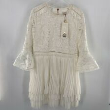 Ted Baker Womens Stefoni Dress Ivory Pleated Crew Lace 3/4 Bell Sleeve XL 5 New