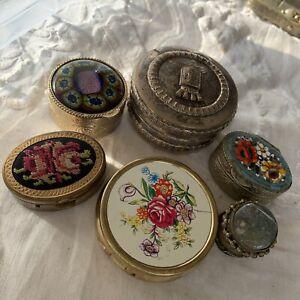 Collection Job Lot Vintage 1950s/60s Trinket Pots Inc Micro Mosaic Petit Point