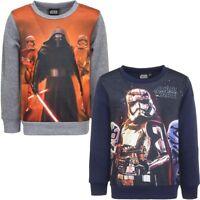 Neu Sweatshirt Jungen Star Wars Pullover Pulli grau blau Gr 104 116 128 140 #203