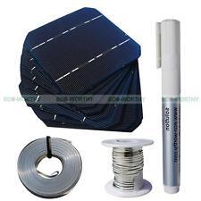 20PCS 5x5 Mono Solar Cell DIY Kit T&B Wire Flux Pen Sun Power for DIY 50W Panel