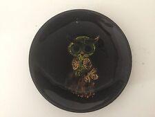"Vintage Enamel on Copper Owl Decorative Plate Dish, 6"" Diameter"